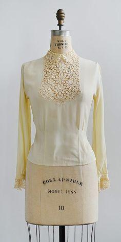 vintage 1940s buttercream rayon lace insert blouse