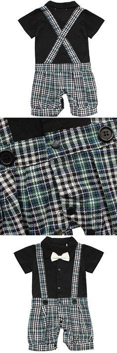 YiZYiF Baby Boys' Short Sleeve One Piece Bowtie Gentleman Rompers Bodysuits (12-18 Months, Black Plaid)