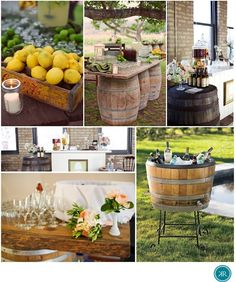 Half wine barrel for cooler! Such a good idea for my wine themed wedding!