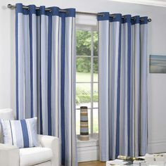 Padstow Striped Ring Top Eyelet Fully Lined Curtains Blue