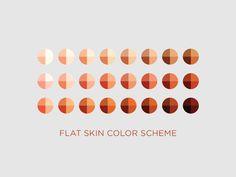 Flat Design - Color Palette for Light, Medium, and Dark Skin Tones