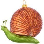 Snail Glass Ornament  border=
