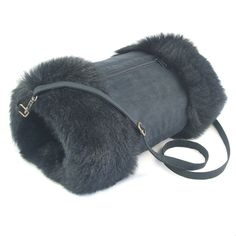hand muff | Looby Lou reversible hand muff/warmer with pocket ... Black fur and ...