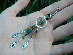 dreamcatcher belly ring turquoise czech in tribal boho hippie bohemian tribal fusion belly dancer