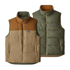 The perfect combination of warmth, functionality and durability, the Patagonia Men's Reversible Bivy Down Vest is insulated with Recycled Down. Patagonia Vest Outfit, Mens Golf Fashion, Guy Fashion, Trekking Outfit, Streetwear, Vest Outfits, Golf Outfit, Outdoor Outfit, Canada Goose Jackets