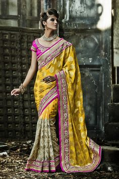 Go Graceful with Yellow Bember,Crepe and Jacquard Saree Shop now @ http://zohraa.com/yellow-bember-saree-z1688p104-a-16.html sku : 62949 Rs. 5,199 ‪#‎sarees‬ ‪#‎sareesonline‬ ‪#‎sari‬ ‪#‎sareeshopping‬ ‪#‎weddingsaree‬ ‪#‎designer‬