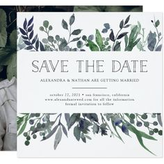 Leafy Watercolor | Save the Date with Photo Card Custom Office Party Invitations #office #partyplanning