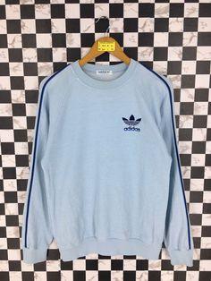 5c43f5b72 Vintage 90 s ADIDAS Jumper Pullover Medium Unisex Adidas Trefoil Three  Stripes Crewneck Sweatshirt Adidas Casual Light Blue Sweater Size M