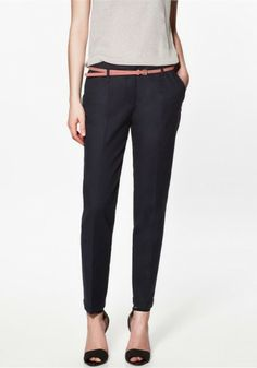 Navy Plain Low Waist Belt Cotton Pants