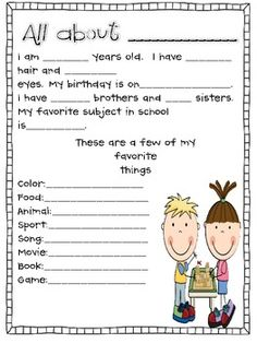 Getting to know you: free printable