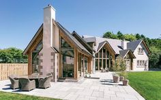 A timber-framed new-build in Elie that combines the best of new and traditional techniques Barn Conversion Exterior, Barn House Conversion, Cabana, Oak Framed Buildings, Oak Frame House, Self Build Houses, House Extension Design, Sims House, House Extensions