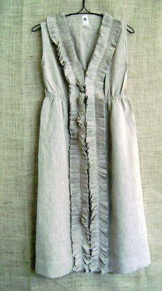 Natural Linen Ruffle Dress in Burlap