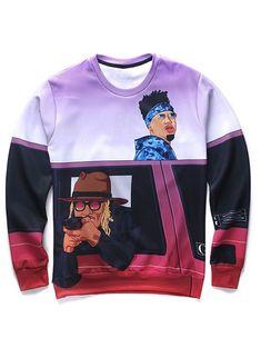 3D Cartoon Figures Print Round Neck Long Sleeve Sweatshirt For Men #men, #hats, #watches, #belts, #fashion