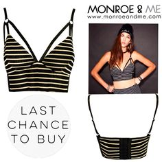 LAST CHANCE TO BUY! Fall in Line Bralet was 199 AED now 115 AED!  Only 2 size XS (UK 8) available...comment with 'SOLD and your email address' and we will get in touch to send this out for cash on delivery. First comes first served basis! #instasale #lastchancetobuy #eviltwin #stripes #bralet #grunge #monochrome #holiday #crop #sale #lastchance #fashion #style #trend #monroeandme #dubai #abudhabi  #uae #mydubai