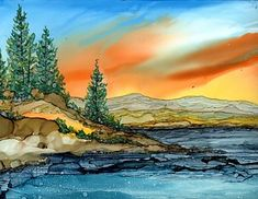 Alcohol Ink Painting - Mountain Lake by Linda Flynn