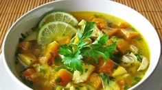 // For details, refer to the Web site. Mango Avocado Salsa, Health Diet, Health Fitness, Vegetarian Soup, Best Breakfast, Chicken Recipes, Good Food, Stuffed Peppers, Meals