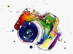 Watercolors : camera : rainbow