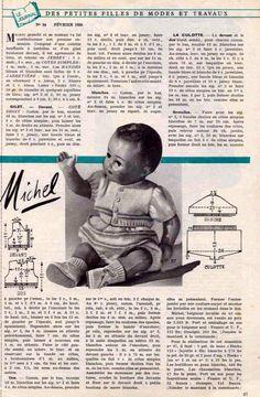 PAR AMOUR DES POUPEES :: M&T 1956-02 ensemble culotte-gilet pour Michel (tricot)