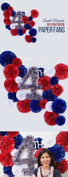 4th of July DIY / Event Decor -How to make Paper Fans -- Fiestas Patrias / Decoration de eventos / Como hacer abanicos de papel.