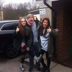Aimee, Louisa, &  Bobby. Aw, look at 'im. Got his Mick Campbell hair. :D