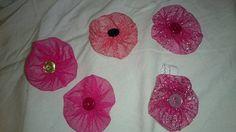 Pink flowers hair elastics