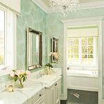 Restoration Hardware Venetian Beaded Mirror, St. Lucia Wallpaper Metallic on Aqua,