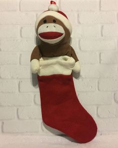Dan Dee Sock Monkey Plush 18 inch Christmas Stocking  DanDee Christmas  Sock f3dcddb63d7d