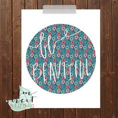 Be Beautiful  Modern Print  Typography Print  by ElmStStudioPrints