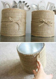 Burlap wrapped metal cans