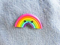 Excited to share this item from my shop: Kawaii Rainbow Pin Badge, Polymer Clay Badge Polymer Clay Ornaments, Cute Polymer Clay, Cute Clay, Polymer Clay Canes, Polymer Clay Necklace, Polymer Clay Projects, Diy Clay, Handmade Polymer Clay, Biscuit