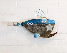 Turqoise Hula No. 7 Fish, Wall Art, Reclaimed Wood, Blue, Silver, Pesce