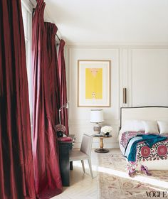 glamorous bedroom in the Paris home of L'Wren Scott