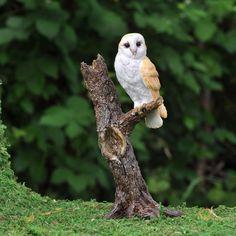 Barn Owl on Tree Stump Branch Miniature Fairy Faerie Gnome Hobbit Garden
