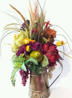 Tuscan Grapes Pear Pomegranat Floral Flower Arrangement Multi Tone Fruit Decor in Home & Garden   eBay