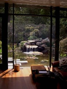 living room with pond view