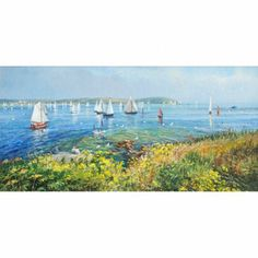 Boats Sailing by St Anthony Head, Cornwall. By British Artist Ted Dyer. Original Oil Painting on Canvas.