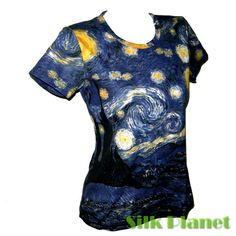 VINCENT VAN GOGH Starry Night BOHO TEE TOP T SHIRT FINE ART PRINT PAINTING  #PN #BasicTee #Casual