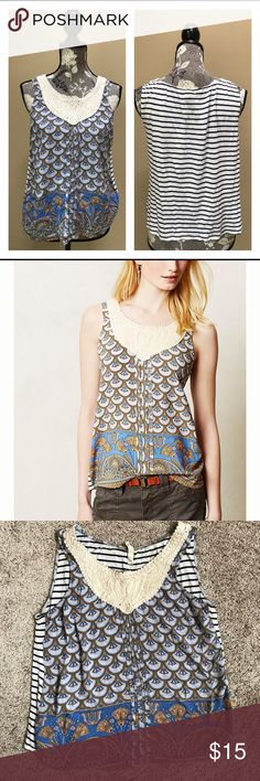 """Anthropologie Tiny Santa Clara tank Adorable Boho Anthropologie Tiny Santa Clara Sleeveless Top size medium. Great preloved condition. Approximately 16"""" across the chest and 21.5"""" long.  100% rayon. Anthropologie Tops"""