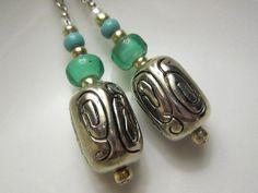 Arizona Tibetan Silver Earrings with Teal Glass Beads