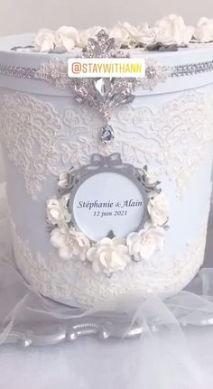 Card box wedding from staywithann.com Romantic Wedding Decor, Elegant Wedding, Wedding Decorations, Money Box Wedding, Card Box Wedding, Silver Wedding Jewelry, Vintage Wedding Invitations, Lace Weddings, Personalized Wedding