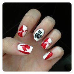 Canada day nails found on YouTube and tried it!