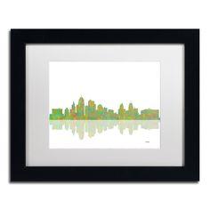Marlene Watson 'Kansas City Missouri Skyline' White Matte, Framed Wall Art