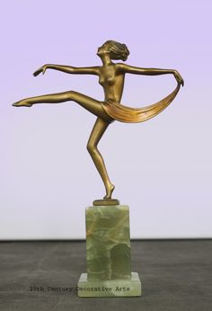 A Lorenzl Art Deco bronze scarf dancer, Vienna 1930s.