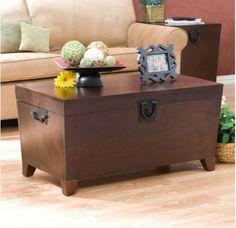 Modern Trunk Cocktail Table Black Metal Handles Brown Finish Living Room Decor