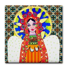 Mexican Folk Art Ceramic Tile - Virgin of Guadalupe Art