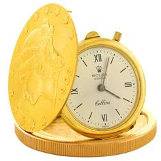 Rolex Cellini Watch in 20 Dollar Gold Piece | From a unique collection of vintage pocket watches at https://www.1stdibs.com/jewelry/watches/pocket-watches/