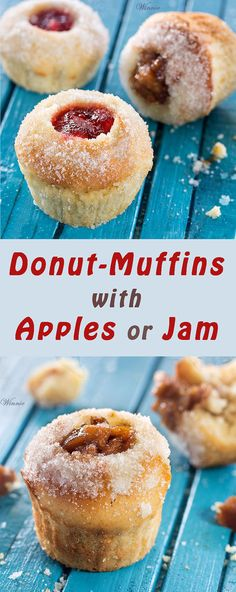 Easy-to-make, and super-delicious Donut-Muffins, filled with carmelized apples or Jam.