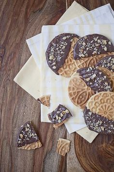 chocolate covered pizzelles - genious!!
