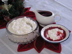 Norwegian Rice Pudding - Traditional Norwegian Christmas Dessert, using leftover rice porridge and fluffy whipped cream, sugar, and vanilla.