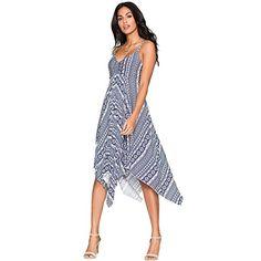 KAYWIDE Womens 50s Geometric Print Spaghetti Strap Summer Long Maxi Beach Dresses